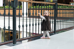 Unidentified girl on Love locks bridge Royalty Free Stock Photo