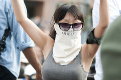 Unidentified girl at Occupy LA protesters march Stock Photos