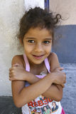Unidentified girl playing in Favela Rocinha Royalty Free Stock Photos