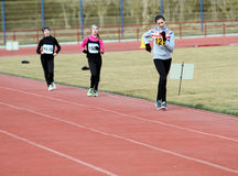 Unidentified girls at the 20,000 meters race walk Stock Image