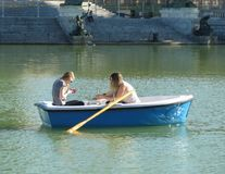 Unidentified girls on a boat Stock Photography