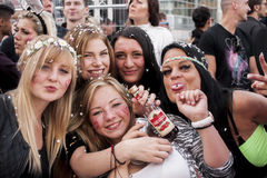 Unidentified girls during Gay pride parade. BERLIN, GERMANY - JUNE 21, 2014: Christopher Street Day.Crowd of people Participate in the parade celebrates gays Royalty Free Stock Image