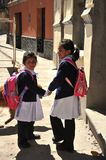 Unidentified girls on street of Potosi. Royalty Free Stock Images