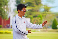 Unidentified group of people practice Tai Chi Chuan in a park. BANGKOK, THAILAND - FEBRUARY 20, 2016: Unidentified group of people practice Tai Chi Chuan in a Stock Image