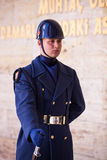 Unidentified Guard at Mausoleum of Atatürk. ANKARA, TURKEY – APRIL 15: Turkish guard at Mausoleum of Mustafa Kemal Atatürk, the leader of the Turkish War Royalty Free Stock Image