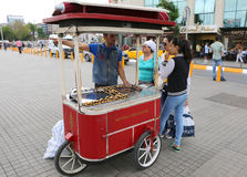 Unidentified Guy selling Roasted Chestnut at Taksim Square Stock Photos