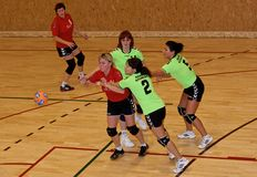 Unidentified handball players in action. VILNIUS, LITHUANIA - october 17: Unidentified players in action at Lithuanian Handball National Championship. match on stock image
