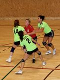Unidentified handball players in action Stock Photo