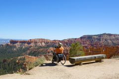 Unidentified handicapped visitor at the rim at Bryce Canyon National Park in Utah Royalty Free Stock Photography