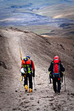 Unidentified hikers in Cotopaxi volcano, one of Stock Photography