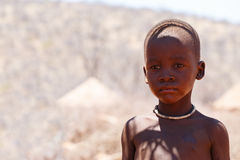 Unidentified Himba baby tribe in Namibia royalty free stock photography