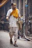 Unidentified hindu people on the sacred old town of Varanasi Stock Image