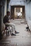 Unidentified hindu people on the sacred old town of Varanasi Stock Photos