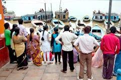 Unidentified Hindu pilgrims expecting for the Ganga Aarti ritual Royalty Free Stock Photo