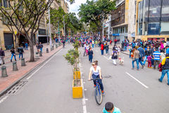 Unidentified hispanic pedestrians and cyclists Royalty Free Stock Photo