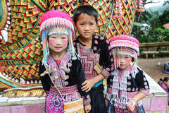 Unidentified Hmong children 4-6 year old gather for photograph stock image