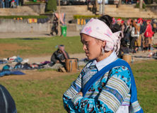 Unidentified Hmong tribe woman on the market. Sapa. Vietnam Royalty Free Stock Images