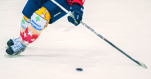 Unidentified hockey player compete. ASIAGO, ITALY - DECEMBER 28: Unidentified hockey player compete during the HC Asiago Migross (yellow) vs Alleghe Hockey Stock Photography
