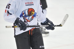 Unidentified hockey player compete Royalty Free Stock Image