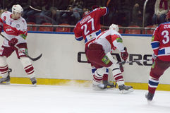 Unidentified hockey players in action Stock Photography