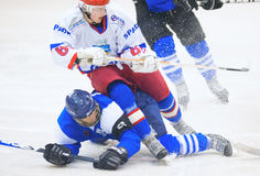 Unidentified hockey players compete Royalty Free Stock Photography