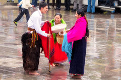 Unidentified indigenous celebrating Inti Raymi, Inca Festival of the Sun in Ingapirca, Ecuador Stock Image
