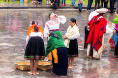 Unidentified indigenous celebrating Inti Raymi, Inca Festival of the Sun in Ingapirca, Ecuador Royalty Free Stock Image