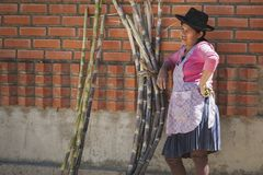 Unidentified indigenous native Quechua woman with traditional tribal clothing and hat, at the Tarabuco Sunday Market, Bolivia Royalty Free Stock Photography