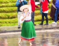 Unidentified indigenous woman in traditional costume celebrating Inti Raymi, Inca Festival of the Sun in Ingapirca, Ecuador Royalty Free Stock Image