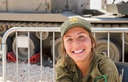 Unidentified israeli girl soldier as presenter on military show. HOLON, ISRAEL - SEPTEMBER 28, 2018: Unidentified israeli girl soldier as presenter on military royalty free stock image