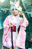 An unidentified Japanese anime cosplay pose in Japan Festa in Bangkok 2013. Royalty Free Stock Images