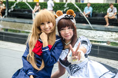 Unidentified Japanese anime cosplay pose in Japan Festa in Bangkok 2013 Royalty Free Stock Images