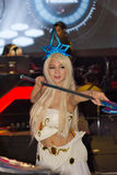An unidentified Japanese anime cosplay pose in Thailand Game Show BIG Festival 2013 Royalty Free Stock Photos