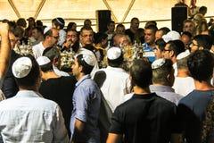 Unidentified jewish people on ceremony of Simhath Torah. Tel Aviv. Royalty Free Stock Photos