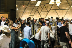 Unidentified jewish people on ceremony of Simhath Torah. Tel Aviv. Stock Photography