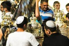 Unidentified jewish people on ceremony of Simhath Torah. Tel Aviv. Royalty Free Stock Photo