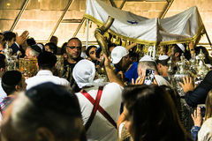 Unidentified jewish people on ceremony of Simhath Torah. Tel Aviv. Royalty Free Stock Images