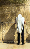 Unidentified jewish worshiper in  tallith and tefillin praying at the Wailing Wall an important jewish religious site Royalty Free Stock Image