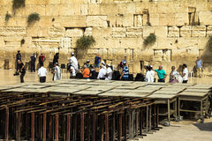 Unidentified Jews spend Bar Mitzvah ceremony near Western Wall Stock Photo