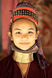 Unidentified Karen long neck young woman. NAI SOI, THAILAND - FEB 3: Unidentified Karen long neck young woman in the village, review of daily life of local Stock Image