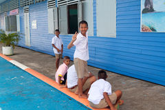 Unidentified kids in elementary school, Koh Panyee fisherman village of Phang Nga province Stock Images