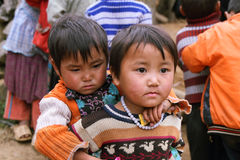 Unidentified kids in mountainous district of Dong Van Stock Image