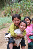 Unidentified kids in mountainous district of Dong Van Royalty Free Stock Photos