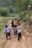 Unidentified kids in mountainous district of Dong Van Stock Images