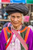 Unidentified  Lisu tribe woman in traditional costume in Pai village Royalty Free Stock Image