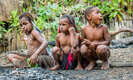 Unidentified little girls and boy of Dugum Dani tribe Royalty Free Stock Images
