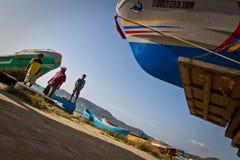 Unidentified local fishermen, Puerto Lopez Royalty Free Stock Photo