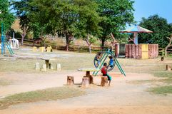 Unidentified local little boys are playing in a village park. royalty free stock photo
