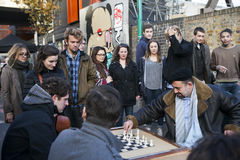 Unidentified local people played chess at Brick lane street Royalty Free Stock Photography