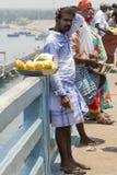 Documentary editoral. RAMESWARAM, RAMESHWARAM, TAMIL NADU, INDIA - March circa, 2018. Unidentified local people saling street food. Unidentified local people stock images